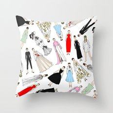 Outfits of Audrey Hepburn Fashion Throw Pillow