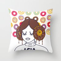 Princess Donut Leia Throw Pillow
