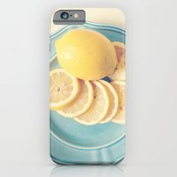 iPhone & iPod Case featuring Lemons on Blue by Olivia Joy StClaire