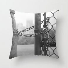 so. wet in central park... Throw Pillow