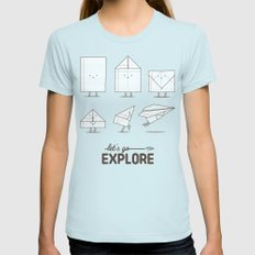 Let's go explore Womens Fitted Tee Light Blue SMALL