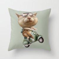 RUNAWAY CAT Throw Pillow