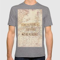 Travel The World Mens Fitted Tee Tri-Grey SMALL