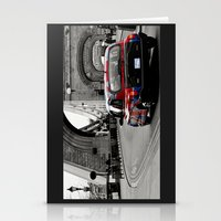 Stationery Card featuring London Union Jack Taxi. by Becky Dix