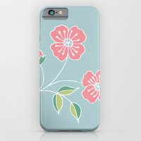 Pink floral placement on blue iPhone 6 Slim Case
