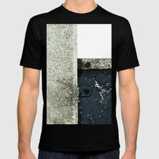 White Blue Concrete Mens Fitted Tee Black SMALL