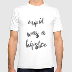 CUPID WAS A HIPSTER Mens Fitted Tee White SMALL