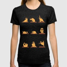 Pug Yoga Womens Fitted Tee Tri-Black LARGE