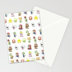 Mario Characters Watercolor  Stationery Cards