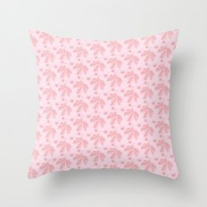 Horse Chestnut leaf and conker pale pink pattern Throw Pillow
