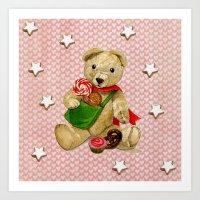 Pink_Hearts_Xmas_Bear_1 Art Print