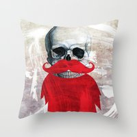 Beard Skull Throw Pillow