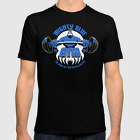 Mighty Blue Gym Mens Fitted Tee Black SMALL