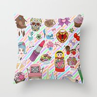 I Love Stickers Throw Pillow