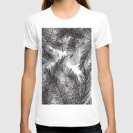 Black White Watercolor H… Womens Fitted Tee White SMALL