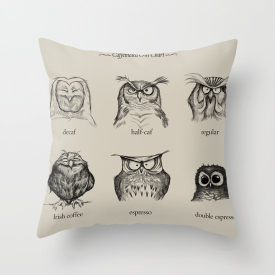 Caffeinated Owls Throw Pillow