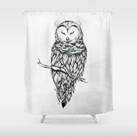 Poetic Snow Owl Shower Curtain