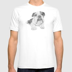 A Bulldog Puppy Mens Fitted Tee White SMALL