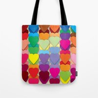 Colored Hearts Tote Bag