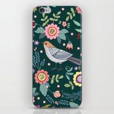 Pattern with beautiful bird in flowers iPhone & iPod Skin