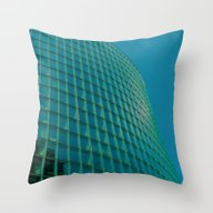 Teal Blue Abstract Throw Pillow