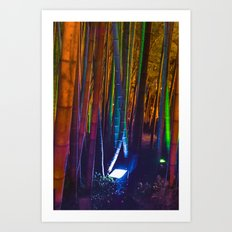 A colorful bamboo forest Art Print