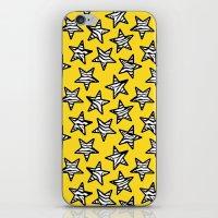 Yellow Zebra print stars iPhone & iPod Skin