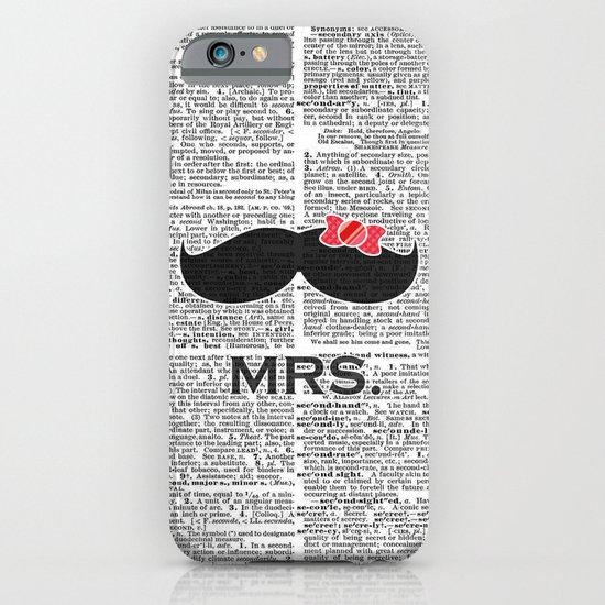 """Mrs. Mustache"" Dictionary Page – Original Digital Art Print iPhone & iPod Case"