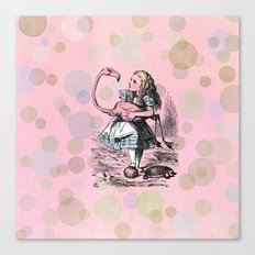 Alice plays Croquet Canvas Print
