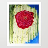 Dripping Dog Rose Art Print
