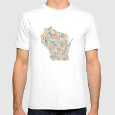 Wisconsin by County Mens Fitted Tee White SMALL