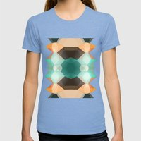 Edie Dimensions Womens Fitted Tee Tri-Blue SMALL