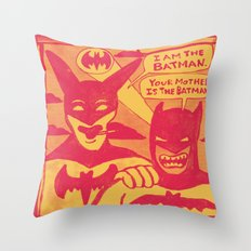 Beware the Yellow and Red Batmen Throw Pillow