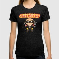Swiss Knife Man Womens Fitted Tee Tri-Black SMALL