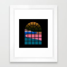WINDOW 001: BEACH VIEW Framed Art Print