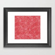 Spiderwebs - Webs on red background Framed Art Print