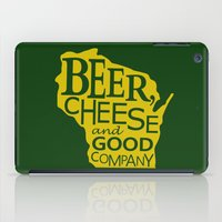 Green and Gold Beer, Cheese and Good Company Wisconsin iPad Case