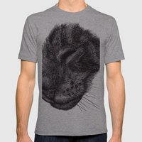 Cat Illustration Mens Fitted Tee Athletic Grey SMALL