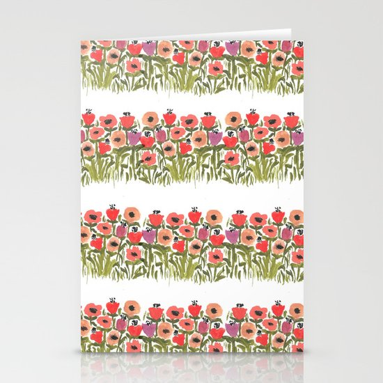 Flower stripe garden Stationery Card