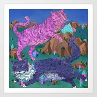 Mountain Cats Art Print