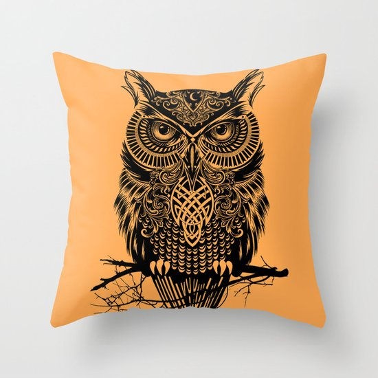 Warrior Owl 2 Throw Pillow