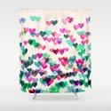Heart Connections II - watercolor painting (color variation) Shower Curtain