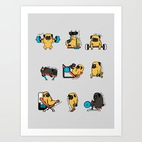 Leg Day With The Pug Art Print