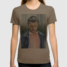 Eleven from Stranger Things Watercolor Portrait Art Womens Fitted Tee Tri-Coffee SMALL