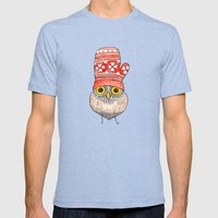 mitten owl Mens Fitted Tee Tri-Blue SMALL