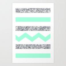 mint and glitter stripes Art Print