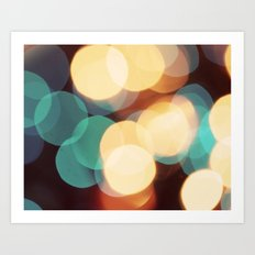 Blue and White Bokeh Art Print