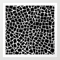 British Mosaic Black and White Art Print