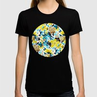 Happy Yellow Flower Collage Womens Fitted Tee Black SMALL