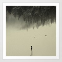 snow Art Prints featuring Silent walk by Andreas Lie